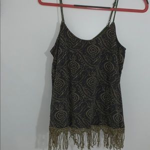 Gimmicks by BKE Open Back Top With Fringe